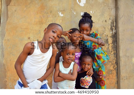 AFRICAN GIRL, NIGERIA - 15 AUGUST 2016: Young vibrant Nigerian kids comes out for a portrait session on 15 AUGUST 2016.