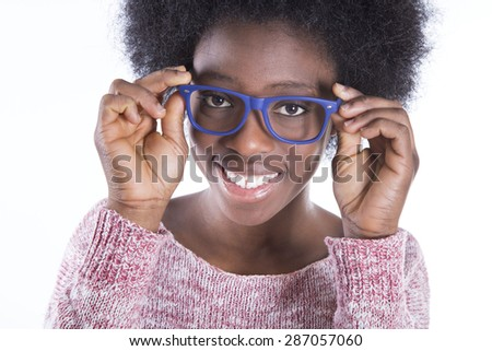 African girl with glasses - stock photo