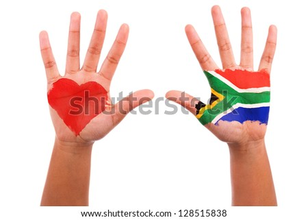 African hands with a painted heart and south african flag, i love south africa concept, isolated on white background - stock photo