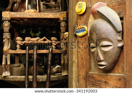 African hanmade souvenirs and crafts in souvenir shop in Tanzania