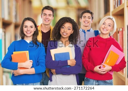 African. International group of happy young students - stock photo