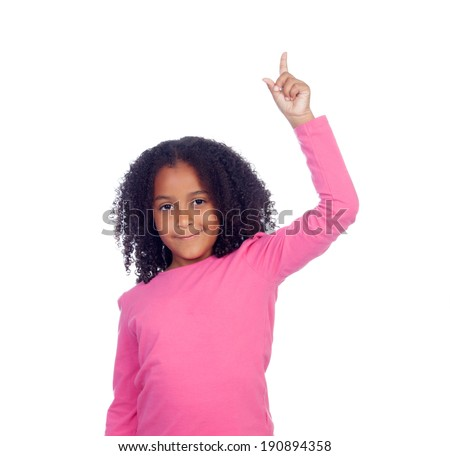 African little girl asking to speak with her hand isolated on a white background - stock photo