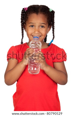 African little girl with water bottle isolated on a over white - stock photo