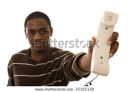 African man giving you a phone receiver (isolated on white)