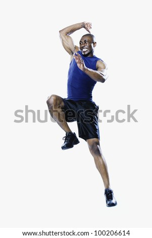 African man jumping - stock photo