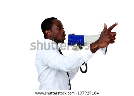 African man shouting through a megaphone isolated on a white background - stock photo