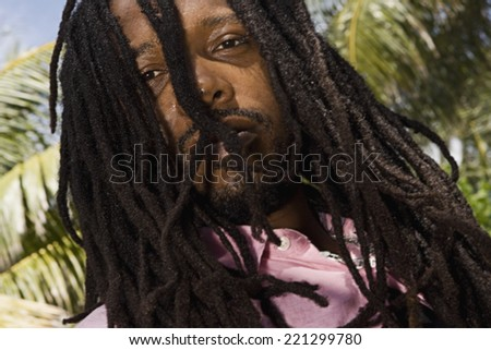 African man with dreadlocks - stock photo