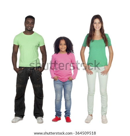 African man with his family isolated on a white background - stock photo