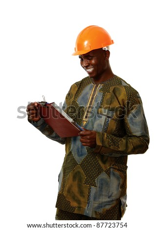 African man working in lab isolated on white background
