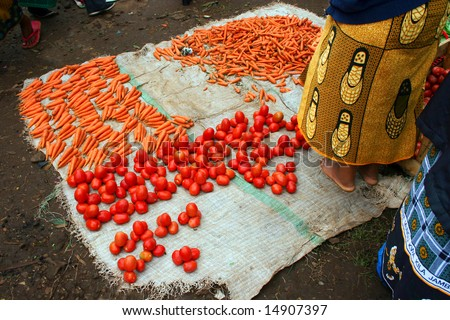 African Market Stand with Woman - stock photo