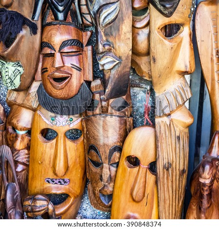 African masks, Morocco. Gift shop. - stock photo
