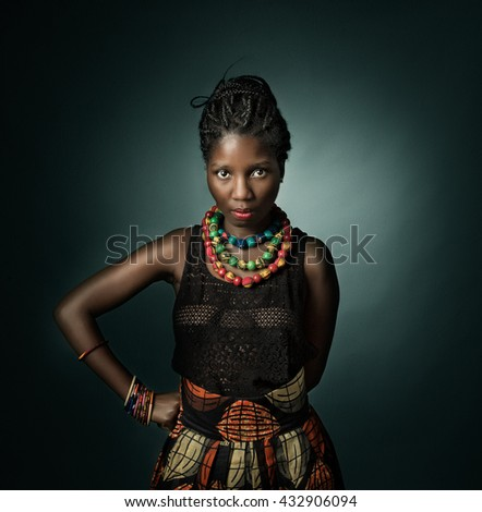 african model looking. green background - stock photo