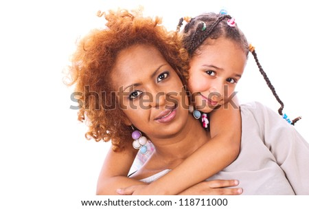 African mother and daughter, isolated on white - stock photo