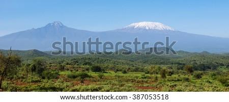 African mountain Kilimanjaro and savanna - stock photo