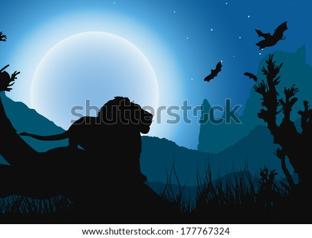 African night background, lion has a rest under the moon. raster version - stock photo