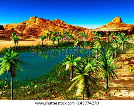 African oasis - beautiful natural  landscape - stock photo