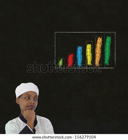 African or African American woman chef with chalk bar graph on blackboard background - stock photo