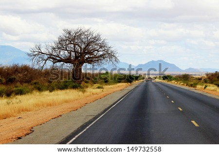 African road from Mombasa to Nairobi, kenya. - stock photo
