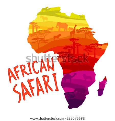 African safari concept with African mainland silhouette filled with animals and trees concept  illustration. - stock photo