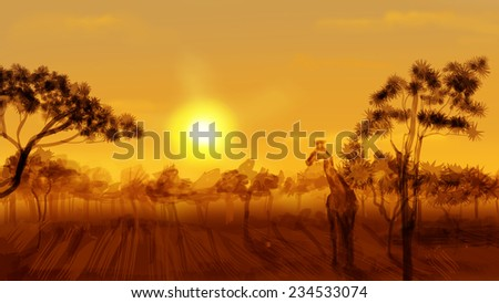 African savannah at sunset, giraffe. Digital sketch - stock photo