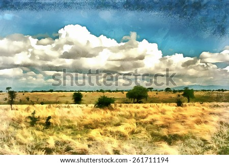 African Savannah landscape with several trees illustration - stock photo