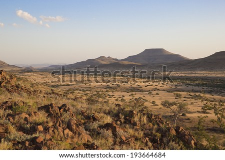African Savannah view over the Palmwag Concession at sunset - stock photo