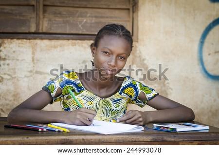 African School Girl Posing for an Educational Shot Symbol - stock photo