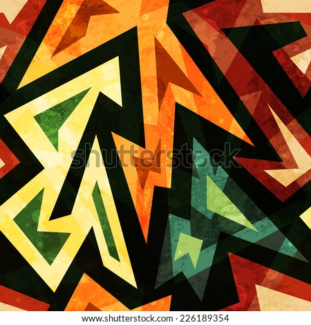 african seamless pattern with grunge effect (raster version) - stock photo