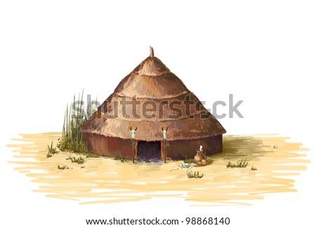 African shaman's hut of reeds in the desert, skulls, bones - stock photo