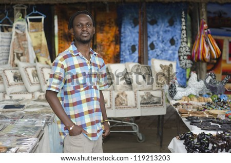 African small business curio salesman selling ethnic items in Howick, KwaZulu-Natal South Africa