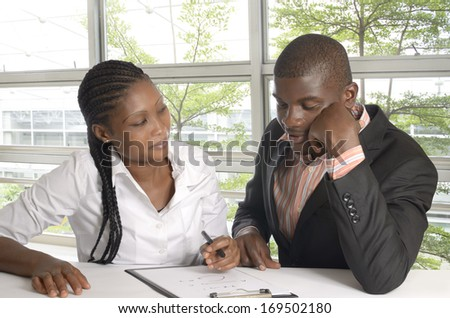 African Students help each other, Studio Shot - stock photo