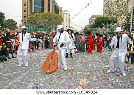 African students in Cyprus carnival parade.