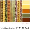 African style earth tone patterns with complimentary colour swatches. Also available in vector format. - stock vector