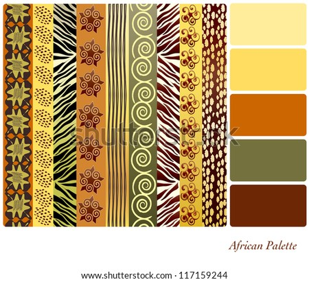 African style earth tone patterns with complimentary colour swatches. Also available in vector format. - stock photo