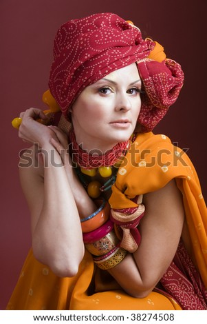 African styled woman with headwrap