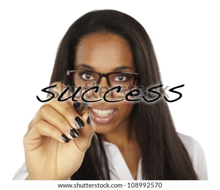 african success business woman drawing a graph - stock photo
