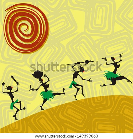 African traditional picture with silhouettes of people. Raster version - stock photo