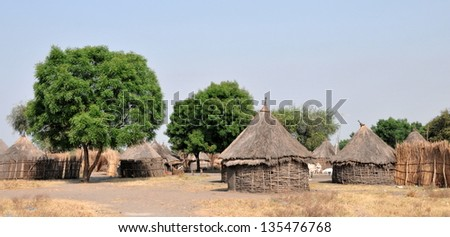 African tribal huts - stock photo