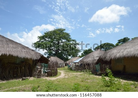 African village in Africa, Senegal - stock photo