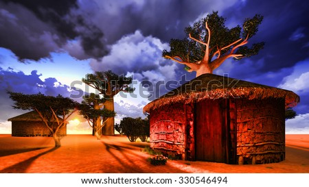 African village with traditional huts surrounded by baobab trees  - stock photo