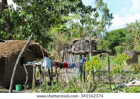 African Village - Zambia - stock photo