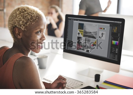 African Woman Computer Networking Technology Concept - stock photo
