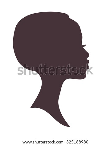 African woman face silhouette. Young attractive modern girl profile sign logo - stock photo