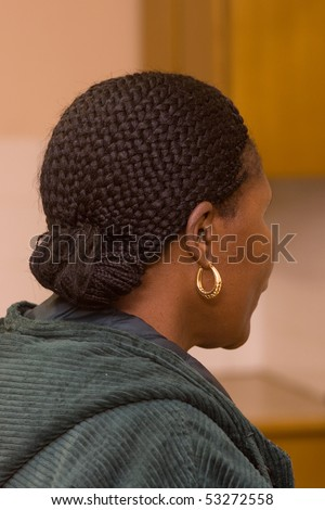 African woman from behind showing hair - stock photo