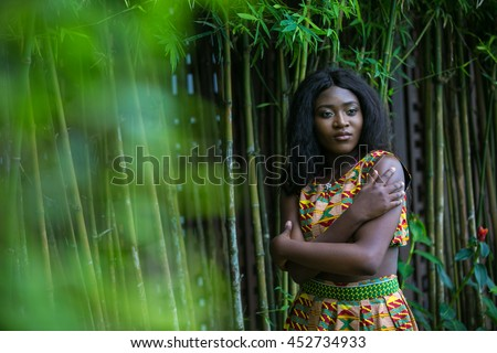 African woman in the jungle.