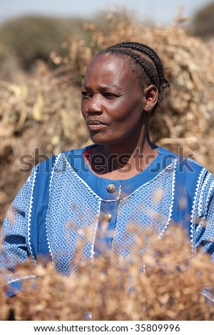 african woman in traditional Botswana clothes - stock photo