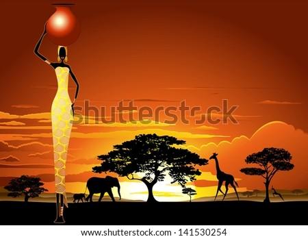 African Woman on Bright Savannah Sunset  - stock photo