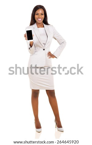 african woman presenting smart phone over white background - stock photo