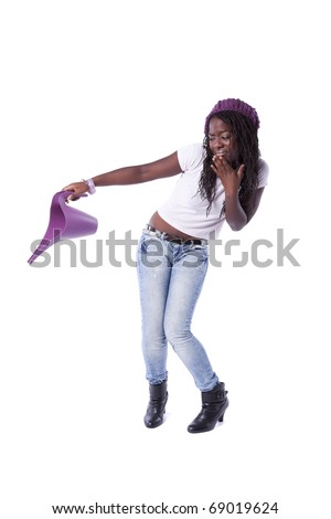 African woman with fear holding a watering can (isolated on white) - stock photo
