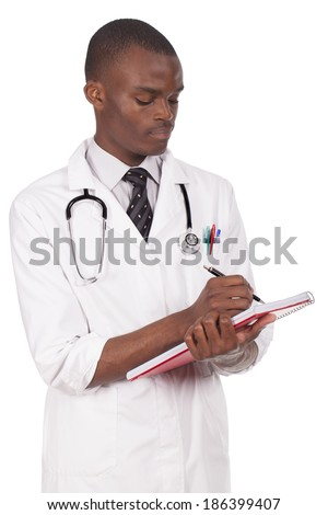 african young doctor working